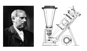 Portrait of Adolf Martens and the graphic of a microscope