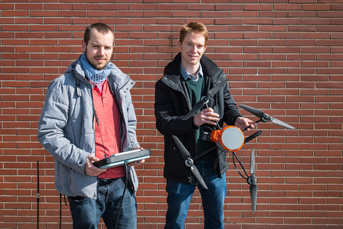 Dr.-Ing. Matthias Bartholmai and Dr. Patrick Neumann have been working together to get sensors onto quadrocopters to locate gas sources since 2008.