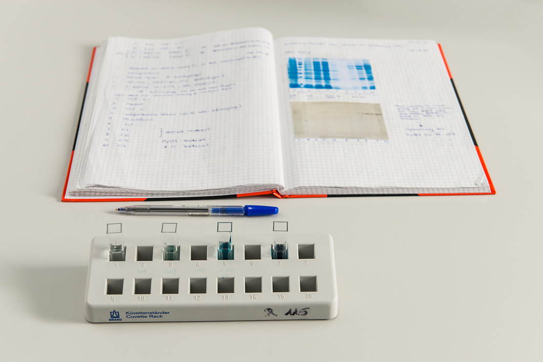 Meticulous documentation: each experiment, each colouring in a cuvette is recorded in the laboratory workbook.