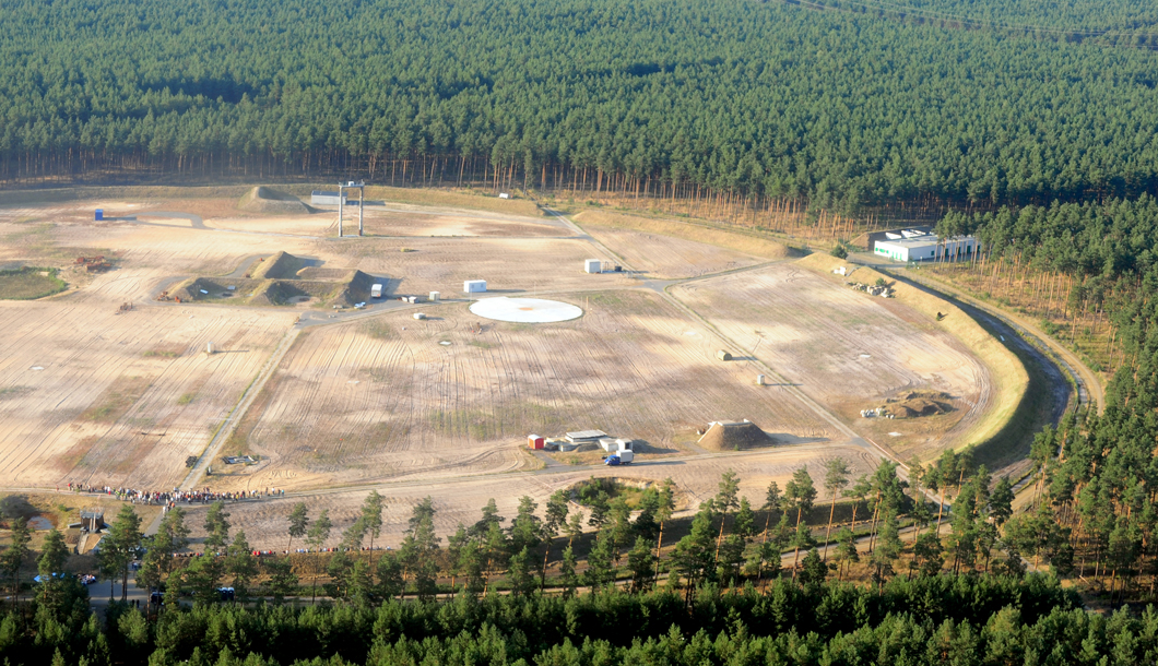 Aerial view of an explosion test ground at the test site