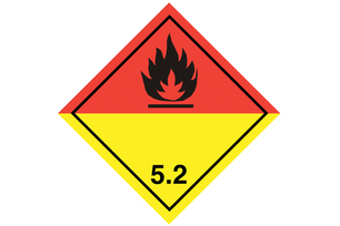 Dangerous goods label for the identification of dangerous goods of Class 5.2 – Organic peroxides