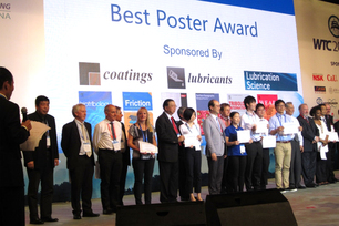 The prize winners of the Best Poster Award of the 6th World Tribology Congress in 2017, including Dr.-Ing. Géraldine Theiler from the Macrotribology and Wear Protection Division.
