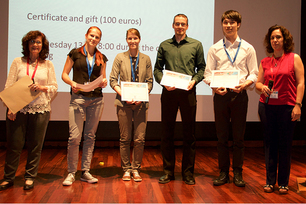 "Tina Waurischk and Carsten Blaeß (3rd and 4th from left) from BAM returned from the 12th ""International Symposium on Crystallisation in Glass and Liquids"" of the International Commission on Glass (ICG) with one poster prize each."