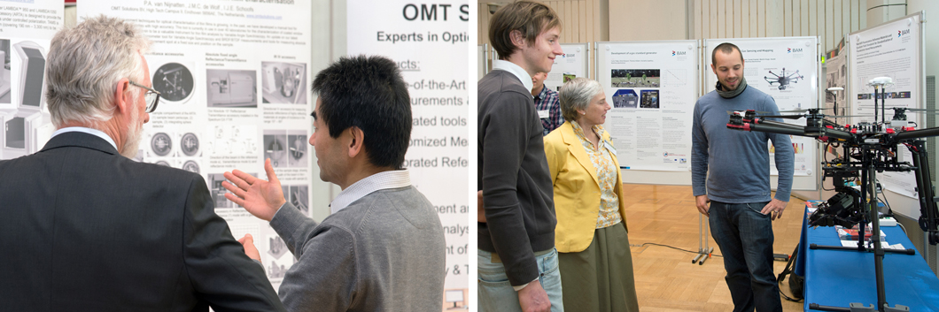 The exhibited posters sparked lively discussions and exchange of ideas (left). Dr. Patrick Neumann from the Sensors, Measurement and Testing Methods Division presented an octocopter with specially developed gas sensors (right).