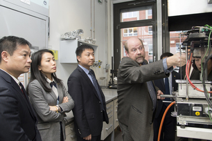 Presentations and guided tours awaited the ECUST delegation at BAM: Lecturer Bernhard Schartel, head of the Technical Properties of Polymeric Materials division guided the guests through some of BAM's fire science labs.