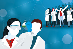 Illustration of young scientists