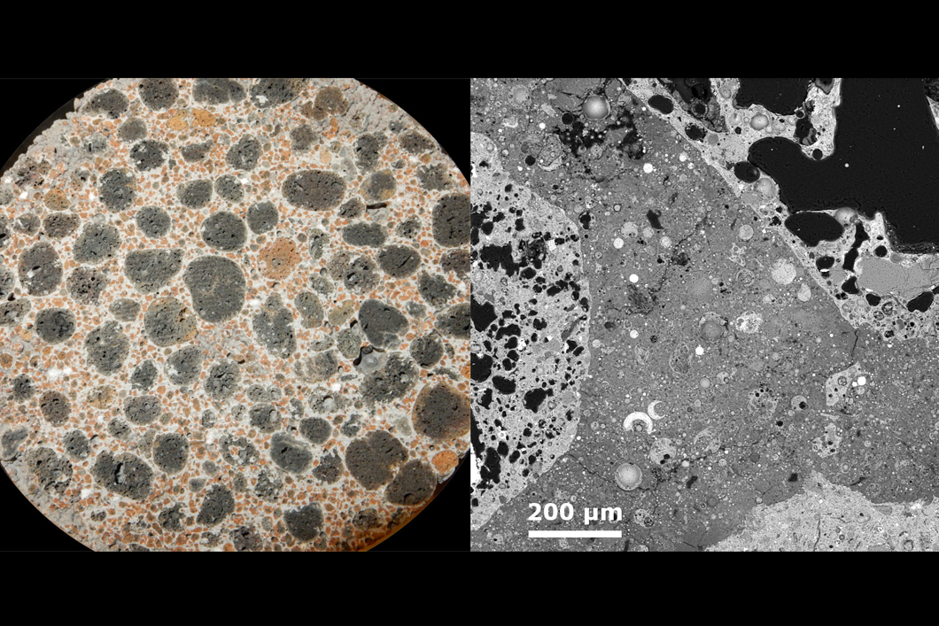 Left: macroscopic picture of the geopolymer lightweight concrete (ground surface, width of figure approx. 8.7 cm); right: SEM picture of the geopolymer lightweight concrete