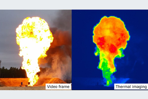 Video frame and thermal imaging of a firebal