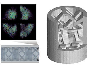 Additively manufactured SMX mixer evaluated through CFD simulation (left) and computed tomography (right)