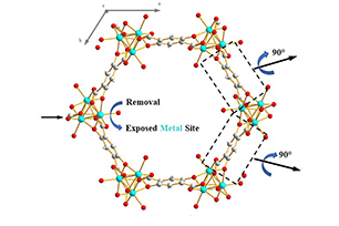 Generation of structural defects in a MOF-74 structure with Exposed Metal Sites by partial linker substitution