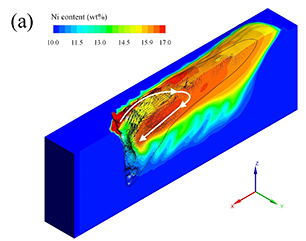 Simulated Ni transport in the molten pool of wire feed laser beam welding