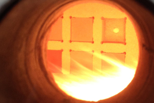 View into a testing furnace