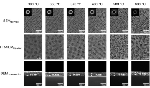 The nanoscale structure and the chemical properties of the porous catalyst layers depend on the calcination temperature