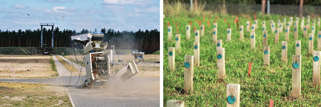 Left: An ATM is tested for blast resistance, right: weathering of wooden sticks