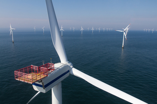 A wind farm in the open seas