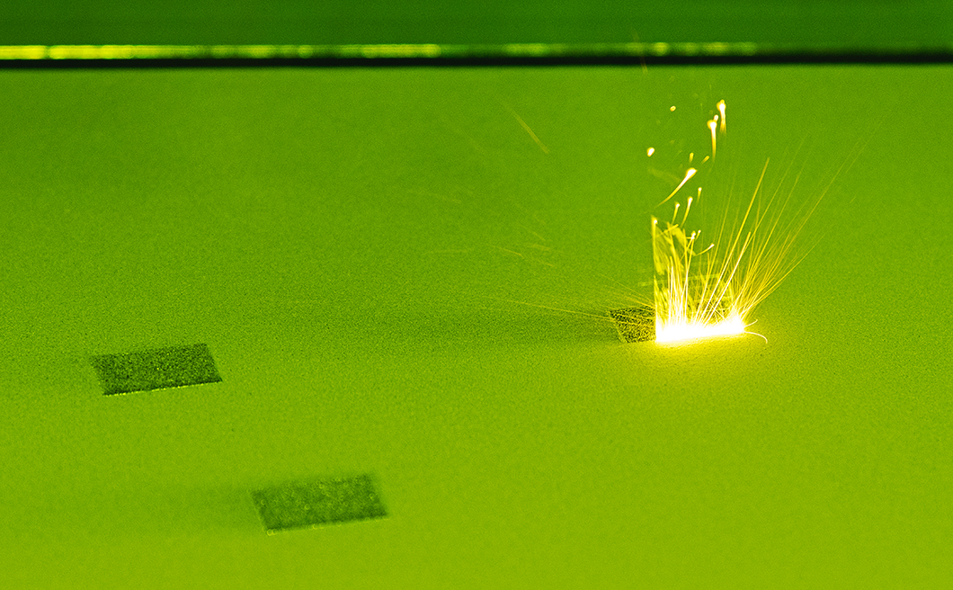Melt pool in the powder bed of a laser beam melting machine
