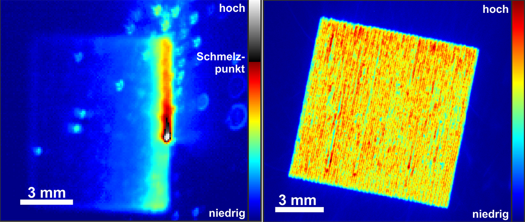 Optical measurement methods: Thermographic snapshot of the melt pool (left), optical tomography (right)
