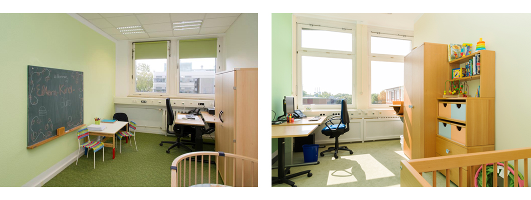 The new parent-and-child offices are painted in a beautiful, fresh green. They have a fully equipped PC workstation and various child-friendly furniture.